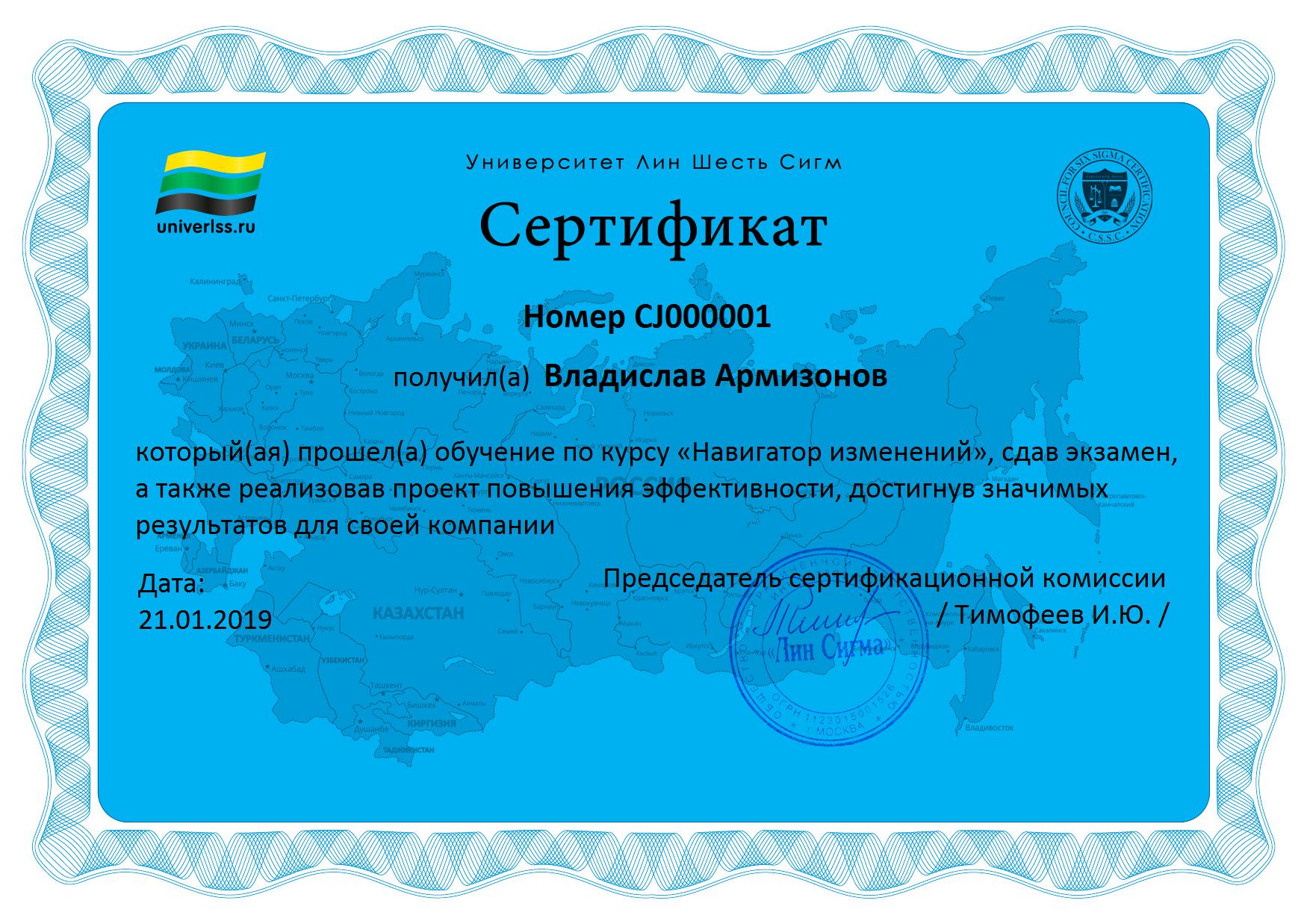 Сертификат Навигатор изменений_пример
